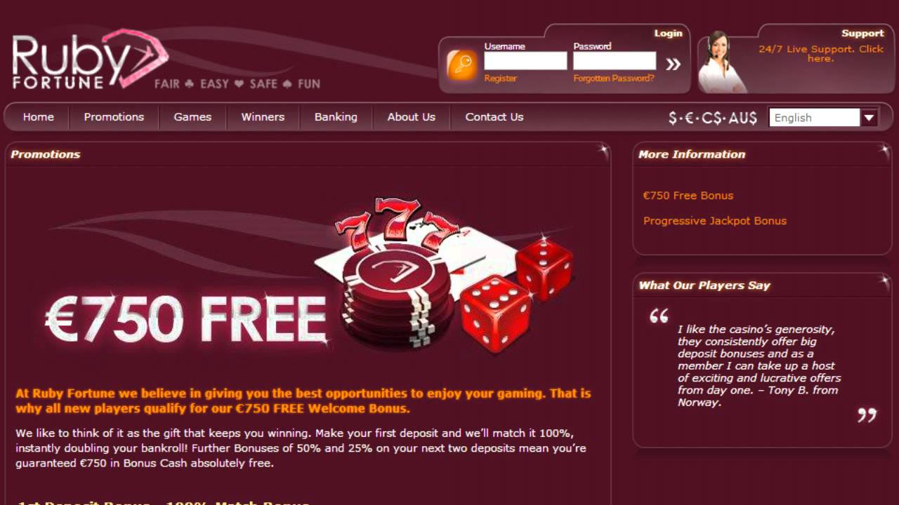 Ruby Fortune casino review: what are their gambling options ?